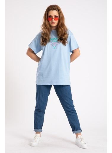 Madame Sare  Kadın Mavi Önü Arkası Bored Baskılı Oversize Tişört Mavi